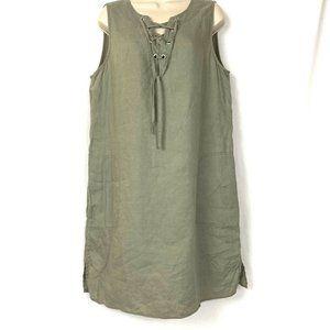 Adrienne Vittadini 100% Linen Shift Dress L Large